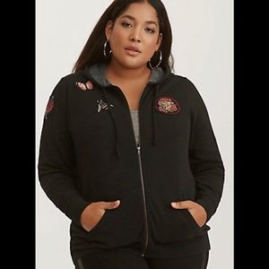 Torrid Tattoo Patch Hoodie Size 2X NWT